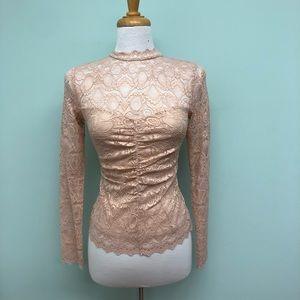 Guess   Women's Lace Shirt   Peach